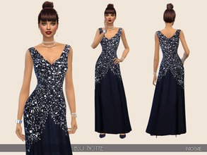 Sims 4 — BluNotte by Paogae — Elegant evening dress, dark blue, sleeveless, v-neck, with glittering top. Categories: