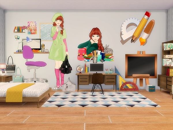 wall decals-teen room2 - the sims 4 download - simsdomination