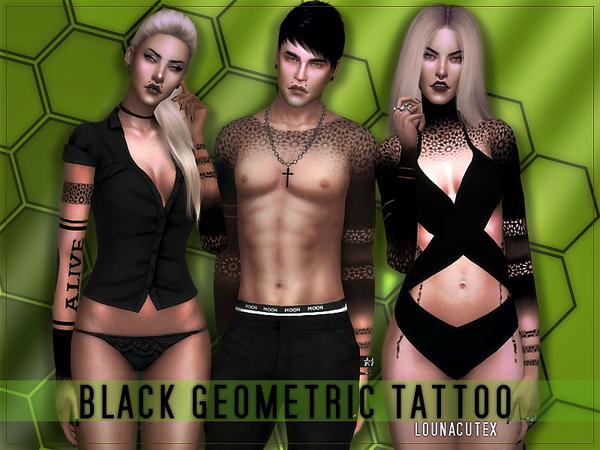 Black Geometric Tattoo   Lounacutex