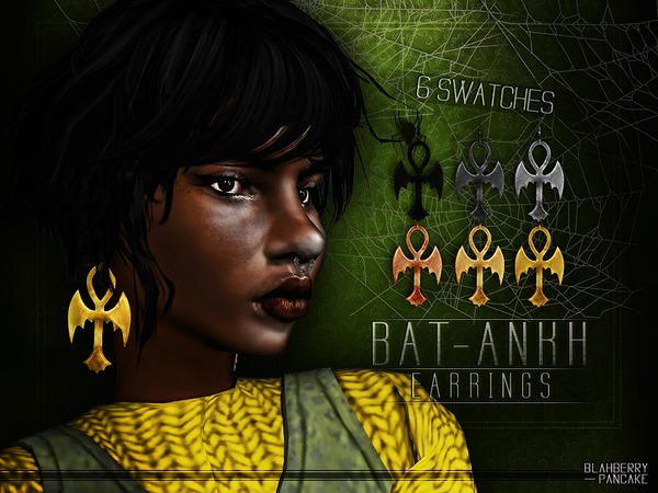 Bat Ankh Earrings