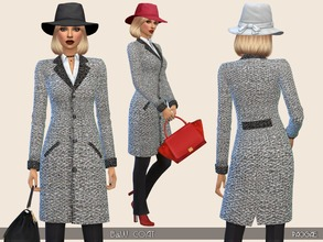 Sims 4 — B&W Coat by Paogae — Outfit consisting of black trousers, white blouse and black and white coat. Collar,
