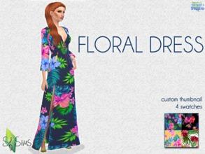 72c892c4d862 FLORAL Dress - SF Sims - Mesh.