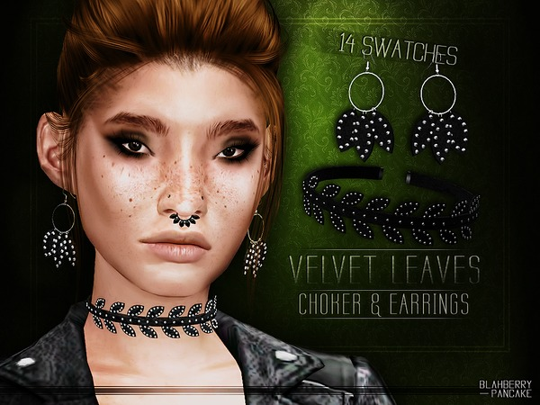 Velvet Leaves Choker & Earrings