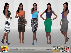 Sims 4 — Set Marina by Elfdor — - tank top 20 swatches - skirt 31 swatches - 2 styles of skirt (regular and high waist) -