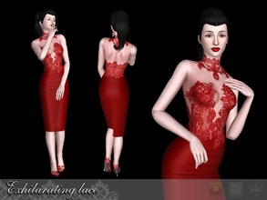Sims 3 — Exhilarating lace Dress by Shushilda2 — - New mesh - 2 recolorable channels - CAS and Launcher icons