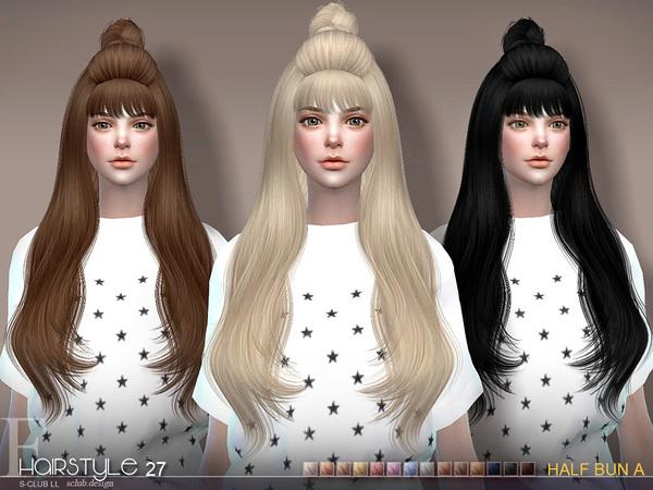 sclub ts4 hair Half Bun n27A