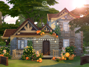 Sims 4 — Pumpkin Cottage by Aquarhiene — This tiny cottage built in Windenburg. Cottage has: Kitchen with dining area,