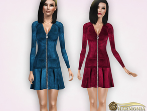 Sims 3 — A-line Silhouette Suede Mini Dress by Harmonia — 4 color recolorable Mesh By Harmonia
