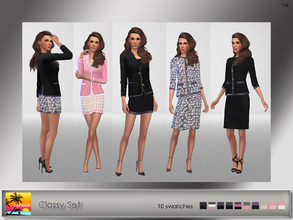 Sims 4 — Classy Set by Elfdor — - 2 styles (2 skirts and 2 suit jackets) - real in-game shine - maxis match - skirts and