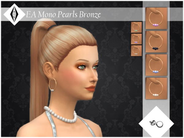 EA Mono Pearls Bronze Earrings