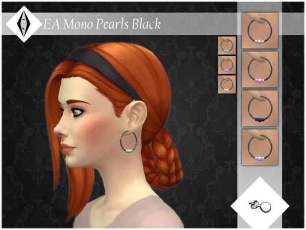 EA Mono Pearls Black Earrings