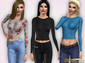 Sims 3 — Ribbed Long Sleeve Stretch Crop Top by Harmonia — 5 color recolorable Please do not use my textures. Please do