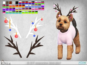 Sims 4 — Horns for small dogs by CATcorp by CATcorp — 5 horn colors 50 recolors Recolors contains 9 Christmas decorations