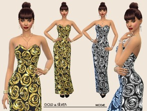 Sims 4 — Gold&Silver by Paogae — Elegant long dress, black, with glittering (really glittering!) roses in two colors,