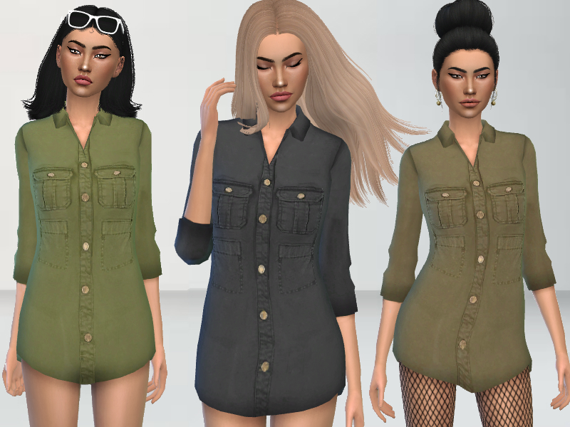 6dd251dcc9 Puresim s Military Style Shirt Dress