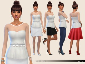 Sims 4 — WhiteTop by Paogae — Elegant white top with lace and jewel-belt, perfect to combine in a thousand ways, to