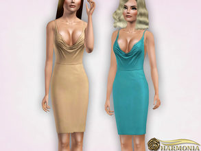 Sims 3 — Plunge Draped Neck Pencil Dress by Harmonia — 4 color recolorable Mesh By Harmonia