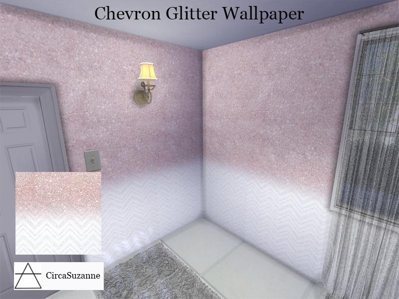 Circasuzannes Chevron Glitter Wallpaper Base Game Compatible