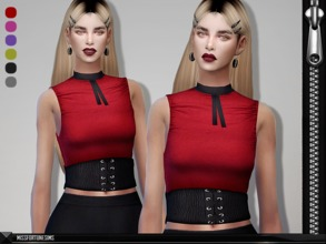 Sims 4 — MFS Gabriella Belted Top by MissFortune — New Mesh - Standalone - 6 Colors - Custom thumbnail
