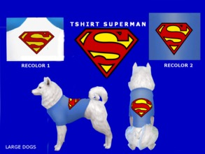 Sims 4 — Superman tshirt (large dogs) by maridesims4 — Recolor by me. Mesh by EAGames, Cats and dogs NEEDED TOUS: Plis,