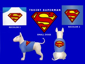 Sims 4 — Superman tshirt (small dogs) by maridesims4 — Recolor by me. Mesh by EAGames, Cats and dogs NEEDED TOUS: Plis,