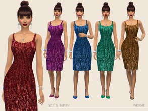 Sims 4 — Let'sParty by Paogae — Classic dress in five colors for parties, Christmastime and New Year's Eve, simple,