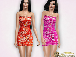 Sims 3 — Oriental Jaquard Bodycon Dress by Harmonia — 3 color not-recolorable Please do not use my textures. Please do