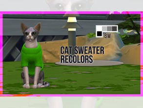 Sims 4 — Cat Sweater Recolor BW by mayrez — This is the Cats and Dogs sweater for cats recolored. Pick and choose as many