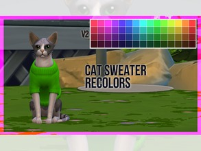 Sims 4 — Cat Sweater Recolor V2 by mayrez — This is the Cats and Dogs sweater for cats recolored. Pick and choose as many