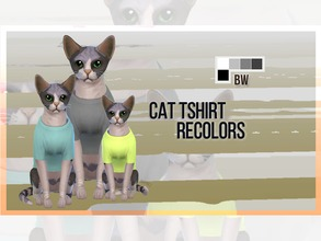 Sims 4 — Cat Tshirt Recolor BW by mayrez — This is the Cats and Dogs tshirt for cats recolored. Pick and choose as many
