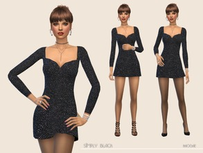 Sims 4 — SimplyBlack by Paogae — Simple minidress, black, with small rhinestones, perfect for disco, parties and new