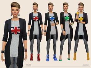 Sims 4 — Flag by Paogae — Outfit consists of skinny pants, black cardigan and gray sweater with flag in four colors.