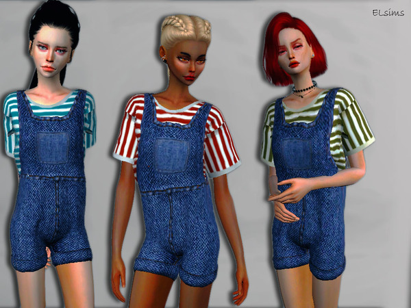 EL Accord Denim+Stripes Jumpsuit