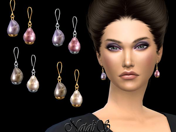 NataliS Baroque pearl drop earrings