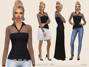Sims 4 — Black Polo Shirt by Paogae — Simple polo shirt, black only, upper part and sleeves transparent with small polka
