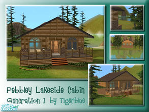 Sims 2 — Pebbley Lakeside Cabin by Tigerblue — *REQUIRES BV ONLY* A light wood version of my Lakeside Cabin lot. Cosy and