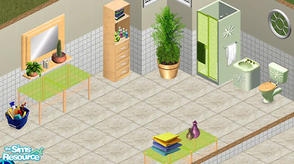 Sims 1 — Lemon Bathroom Set by sgandra — Includes: Bottles, Bucket, Cabinet, Counter, Mirror, Plant, Shower, Sink,