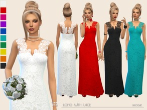 Sims 4 — Long with Lace by Paogae — Long dress with delicate lace, in ten colors, to be used as elegant dress or wedding