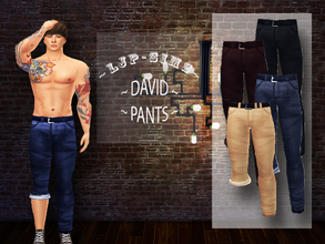 Sims 4 — David Pants by LJP-Sims — -with custom thumbnail -for male adult -with 11 colours note: thanks for all custom