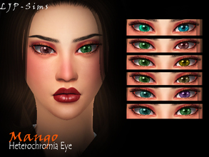 Sims 4 — Mango Heterochromia eye by LJP-Sims — -with custom thumbnail -with 23 colours -unisex -cas categories earring