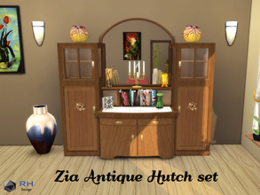 Sims 4 — Zia Antique Hutch set by RightHearted — A beautiful 5-pieces hutch set with both contemporary and antique decor