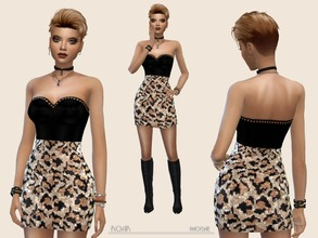 Sims 4 — Roar by Paogae — Aggressive and sexy mini dress, black top and leopard-print skirt with shiny sequins, for a ...