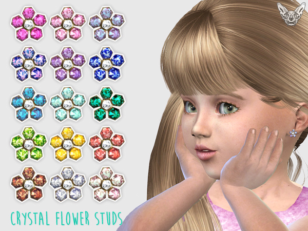 Crystal Flower Studs For Toddlers