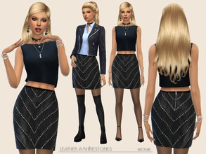 Sims 4 — Leather&Rhinestones by Paogae — Black leather skirt with rhinestones ... use your imagination to create many