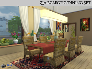 Sims 4 — Zia Eclectic Dining Set by RightHearted — From banana leaf chairs to oriental rugs, this set has a great variety