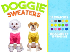 Sims 4 — Doggie Sweaters - Large Dogs by SpringSims1 — solid colors 15 swatches custom thumbnails for large dogs