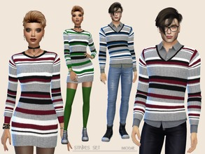 Sims 4 — Stripes Set by Paogae — Striped sweaters for her and him in three colors: invent your style together! Standalone