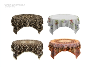 Sims 4 — [Virginia II terrace] - tablecloth 6 person table WCOL by Severinka_ — Tablecloth on 6 person table From the set