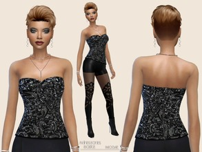 Sims 4 — Rhinestones Bodice by Paogae — Black embroidered bodice with rhinestones, perfect to combine for classic or more