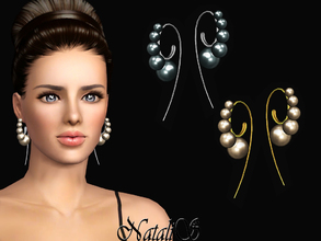 Sims 3 — NataliS TS3 Curved Ear Wire Pearls Earrings by Natalis — Curved Ear Wire Pearls Earrings. FT-FA-FE